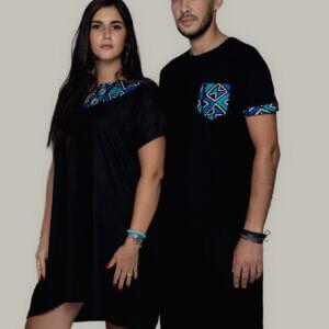 Robe Noir Courte Wax Bleu